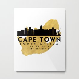 CAPE TOWN SOUTH AFRICA SILHOUETTE SKYLINE MAP ART Metal Print