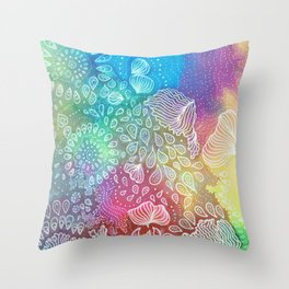 Water colors 2 - Rainbow corals Throw Pillow