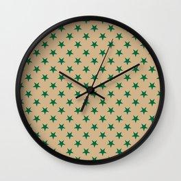 Cadmium Green on Tan Brown Stars Wall Clock