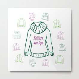 Knitters Are Tops - Plummy Metal Print