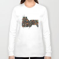 cities Long Sleeve T-shirts featuring Twin Cities by BigRedSharks