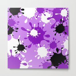 Paint Splatter-Purple+Black Metal Print