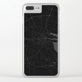 Black on Grey Dublin Street Map Clear iPhone Case