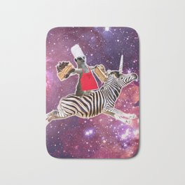 Lemur Riding Zebra Unicorn Eating Cake Bath Mat