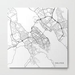 Halifax Map, Canada - Black and White Metal Print
