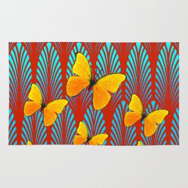 YELLOW ART DECO BUTTERFLIES & CUMIN COLOR ART Rug