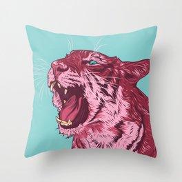 Magenta tiger Throw Pillow