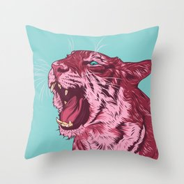 Magenta tiger Throw Pillow