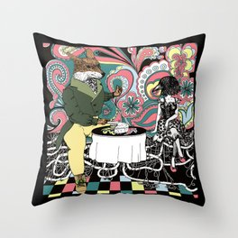 Crow Serie :: The Crow & The Fox (after Lafontaine's Fable) Throw Pillow