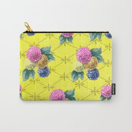 Hydrangeas on Yellow Carry-All Pouch