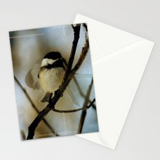 Black Capped Chickadee in motion with speckles Stationery Cards