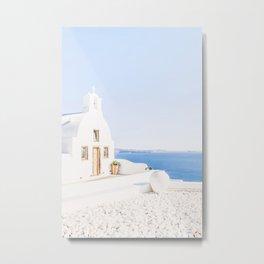 474. White Chapel, Oia, Santorini, Greece Metal Print
