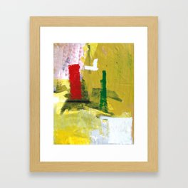 No. 02 Yellow Red and Green Bold Abstract Painting  Framed Art Print