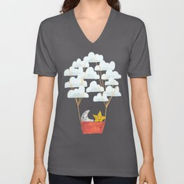 Hot cloud baloon - moon and star Unisex V-Neck