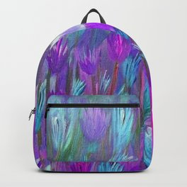 Field of Flowers in Purple, Blue and Pink Backpack