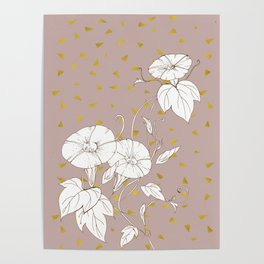 Morning Glory in Gold Poster