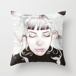 Oiseaux dans la tête Throw Pillow