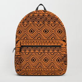 African Mud Cloth // Orange Backpack