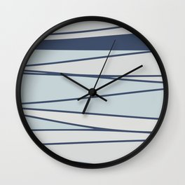 Vintage blue stripe pattern for home Wall Clock