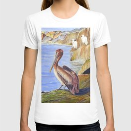 Pelican And Snowy Egrets On A Jetty T-shirt