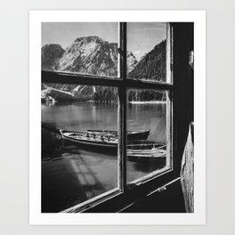 Through the Window (Black and White) Art Print