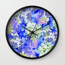Billowing Blush in Blue Wall Clock