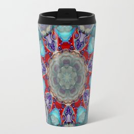 Vibrant and Colorful Mandala Kaleidoscope Digital Art Travel Mug