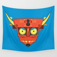 diablo Wall Tapestries featuring Dia de Los Robot Diablo by Ashley Hay
