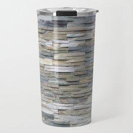 Gray Slate Stone Brick Texture Faux Wall Travel Mug