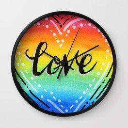 Rainbow Heart Love Wall Clock