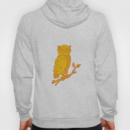 Horned Owl Perching Branch Mono Line Hoody