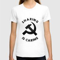 marx T-shirts featuring Sharing Is Caring by Landon Sheely