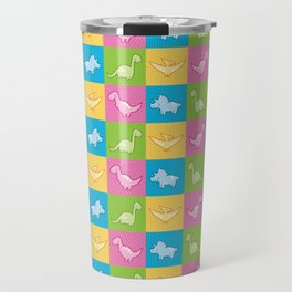Colorful dinosaurs and pterodactyl cheater quilt Travel Mug