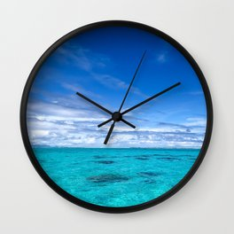 South Pacific Crystal Ocean Dreamscape with Boat Wall Clock