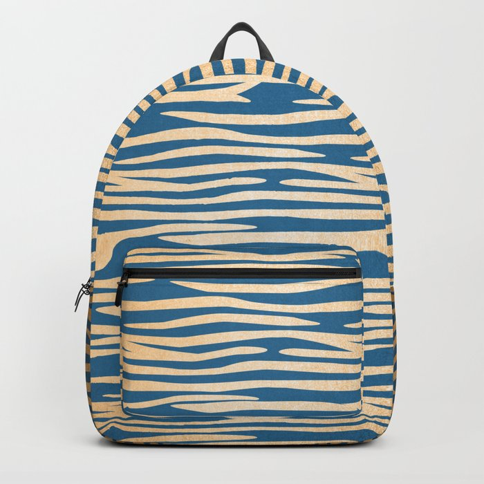 Zebra - Orange Sherbet Shimmer on Saltwater Taffy Teal Backpack