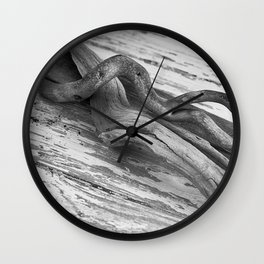 weathered driftwood black and white Wall Clock