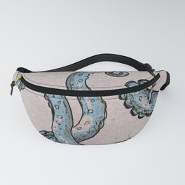 Grey blue Tentacles Woodblock style Fanny Pack