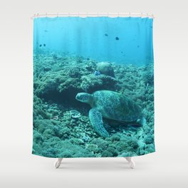 Resting green turtle Shower Curtain