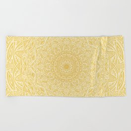 Most Detailed Mandala! Yellow Golden Color Intricate Detail Ethnic Mandalas Zentangle Maze Pattern Beach Towel
