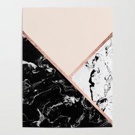 Modern black white marble rose gold color block stripes blush pink Poster