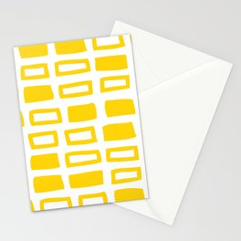 Mid Century Modern Abstract Squares Pattern 442 Yellow Stationery Cards