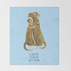 Love each otter Throw Blanket