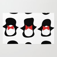 penguins Area & Throw Rugs featuring Penguins by Flash Goat Industries