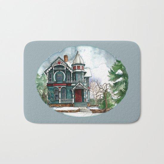 Blue House on a Grey Day Bath Mat