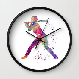 Girl Baseball Player Softball Batter Colorful Watercolor Art Wall Clock