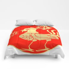 Year of the Rooster Gold and Red Comforters