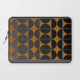 Black and Gray Gradient with Gold Squares and Half Circles Digital Illustration - Artwork Laptop Sleeve