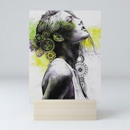 Burnt By The Sun (street art woman portrait with mandalas) Mini Art Print