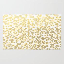 Gold Leopard Animal Print Ink Nature Jungle Exotic Pattern Rug