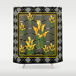 Golden Calla Lilies Black-Grey Harlequin Art Shower Curtain